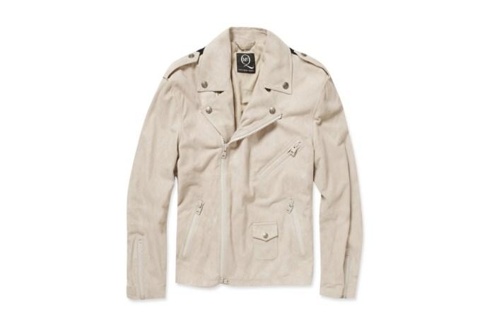 McQ Alexander McQueen Knitted-Back Suede Biker Jacket