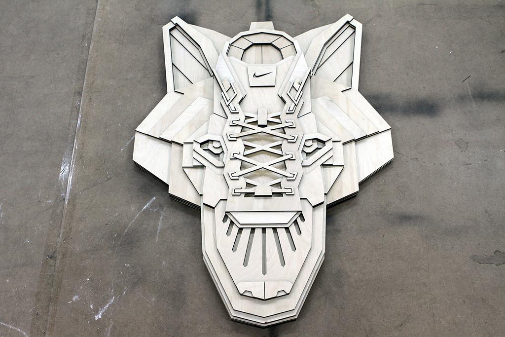 nike sportswear x sicksystems the wolf plywood sculpture