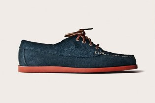 Oak Street Bootmakers Navy Suede Red Brick Sole Trail Oxford