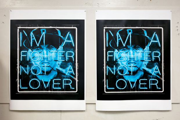 patrick martinez hate and love fighter serigraph