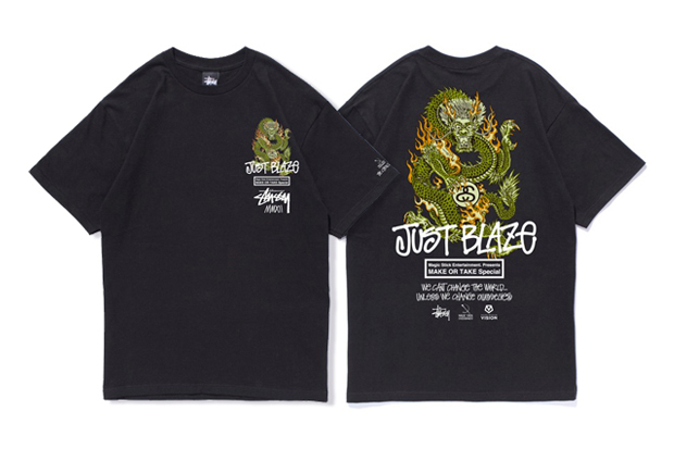 stussy x magic stick x just blaze make or take t shirt