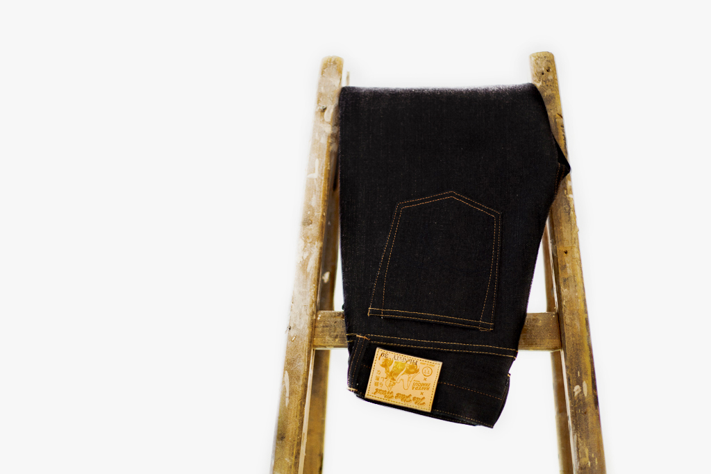 the flat head x naked famous for tate yoko 14 5 oz weird guy denim