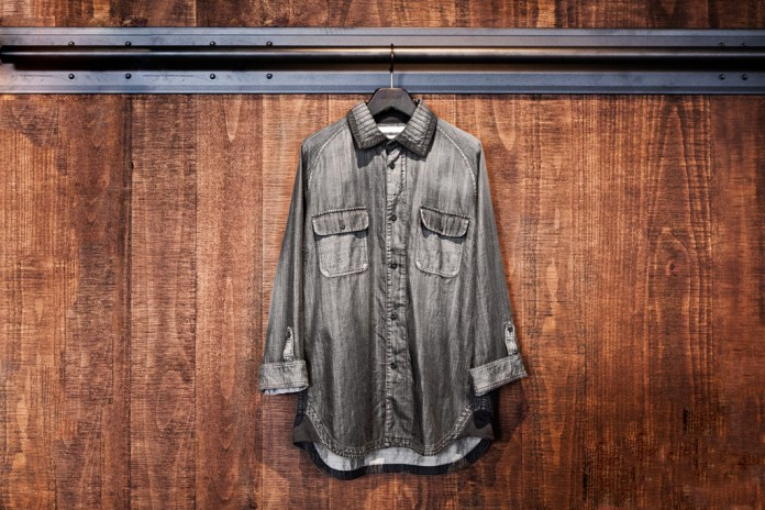 White Mountaineering for Lane Crawford Black Dyed Denim Shirt