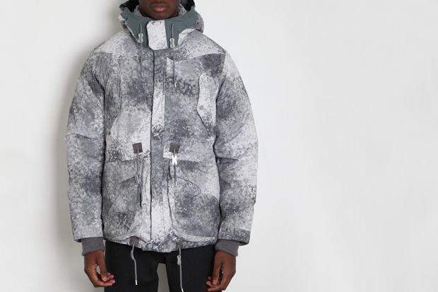 White Mountaineering Pertex Digital Camo Middle Down Jacket