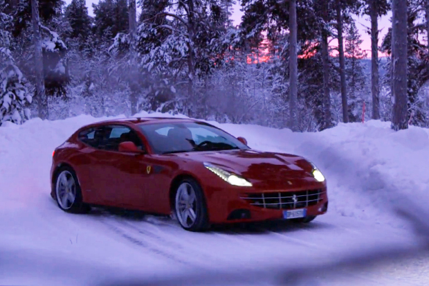 Ferrari: Markku Alen Tests the FF on a Snow-Covered Forest Stage