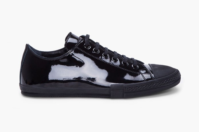 Jil Sander Black Patent Low Top Sneaker