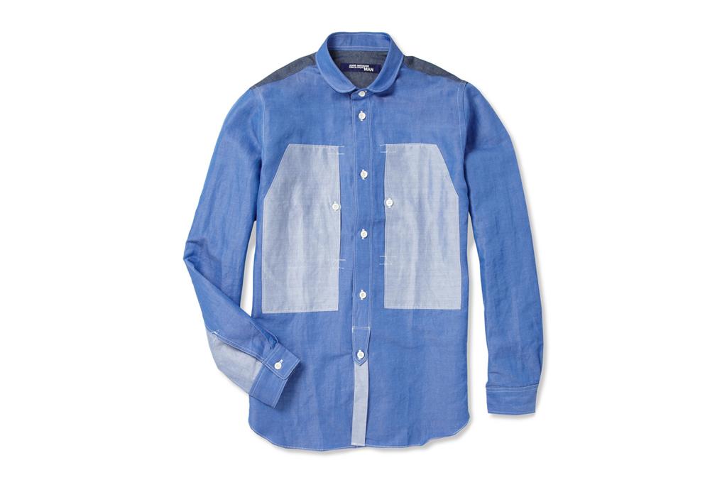 junya watanabe comme des garcons man panelled linen blend shirt