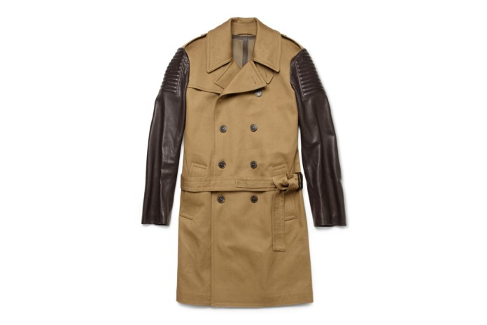 Simon Spurr Leather Sleeve Trench Coat