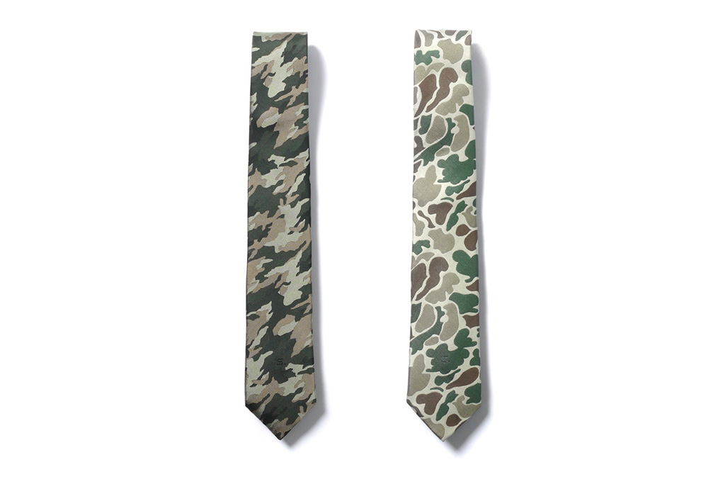 SOPHNET. Camouflage Themed Narrow Neck Ties