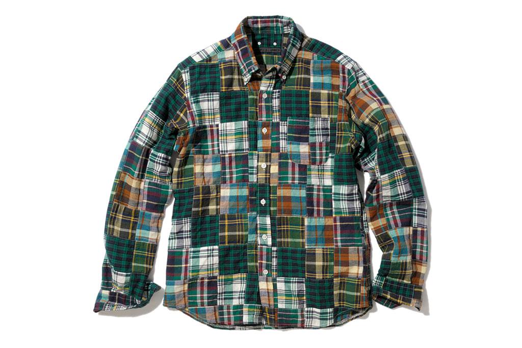 sophnet l s madras patchwork b d shirt