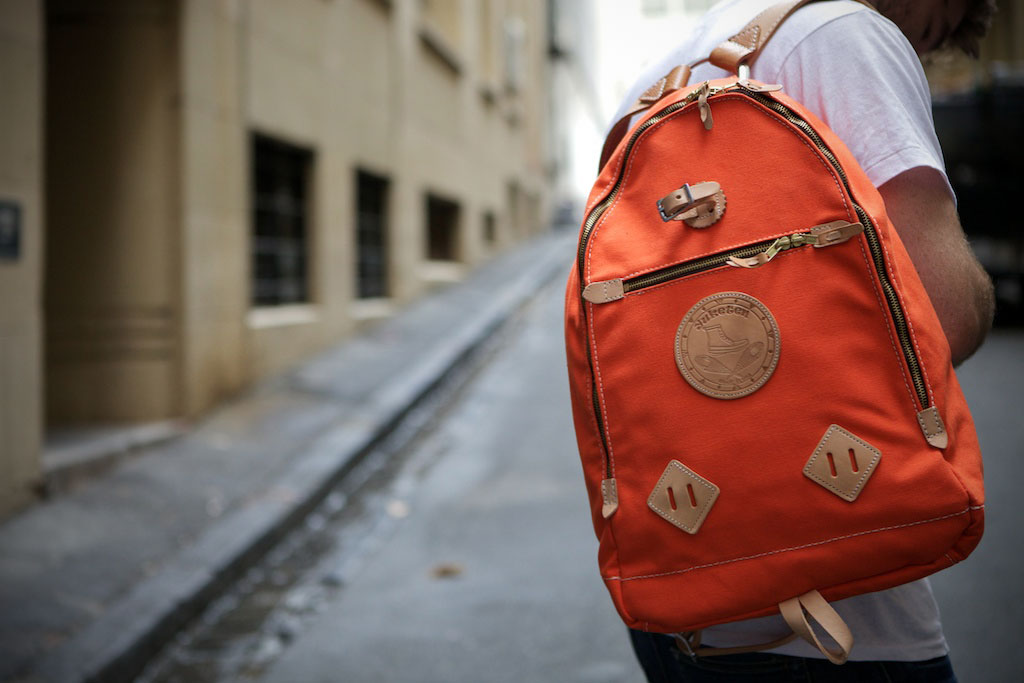 Yuketen Triangle Backpack Orange Waxed Cotton
