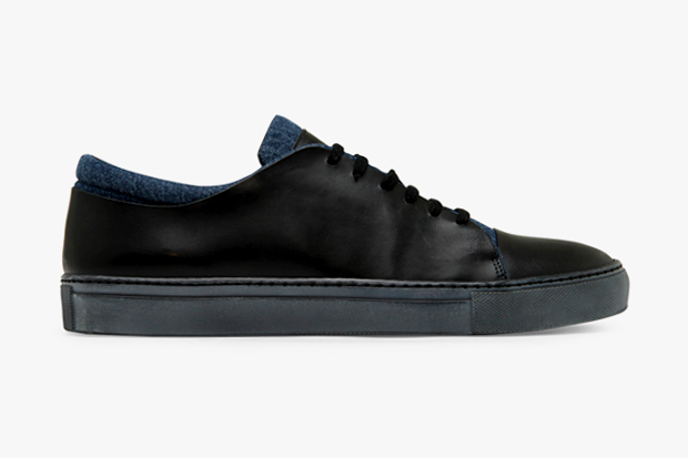 acne leather denim sneaker
