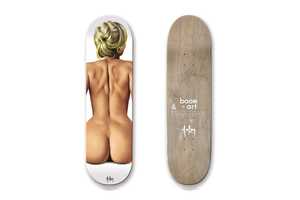 alain aslan for boom art pin up girl skateboard decks