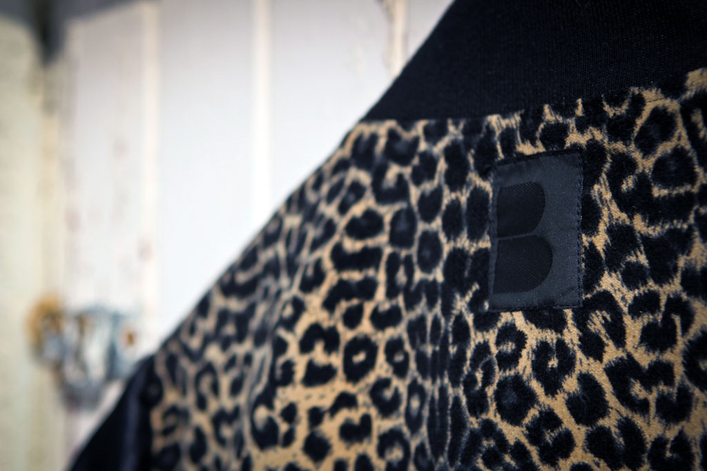 b side by wale custom cheetah varsity jacket