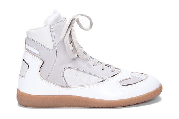 maison martin margiela hi top sneaker white grey
