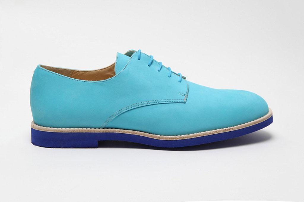T&F Slack Shoemakers London Nubuck Turquesa Derby Shoe With Micro Sole