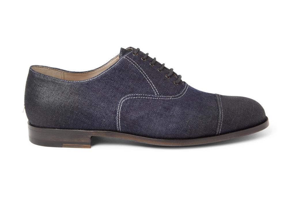 Bottega Veneta Oiled Denim Oxford Shoe