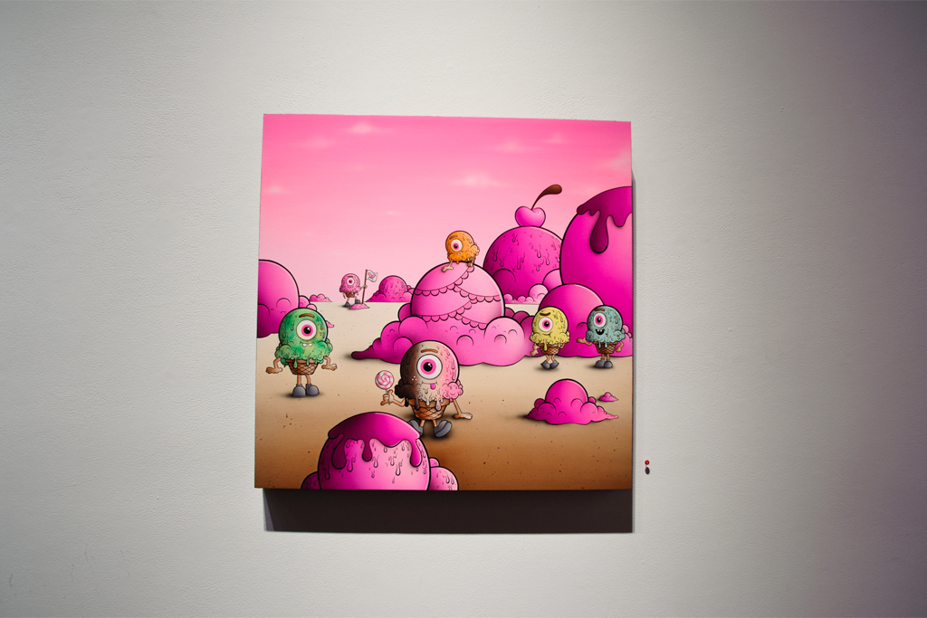 buff monster legend of the pink cherry exhibition corey helford gallery recap