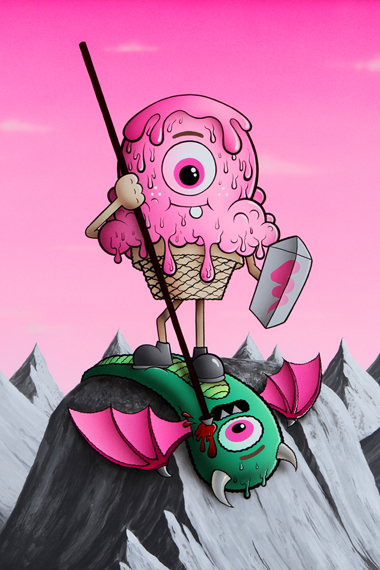 "Buff Monster ""Legend of the Pink Cherry"" Exhibition @ Corey Helford Gallery"
