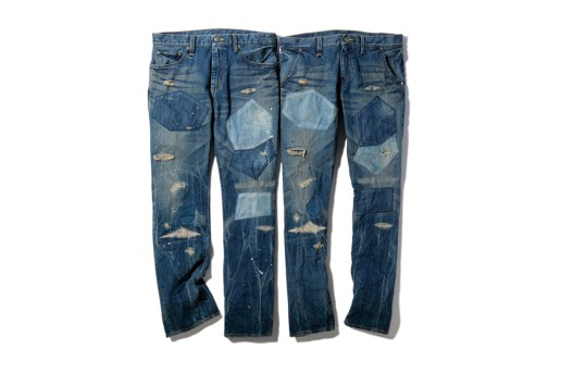 SOPHNET. X-146 Hard Damaged Paint Denim Pants
