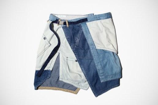 White Mountaineering Denim Apron Shorts