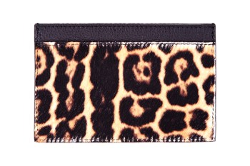Yves Saint Laurent Leopard Print Calf-Hair Cardholder