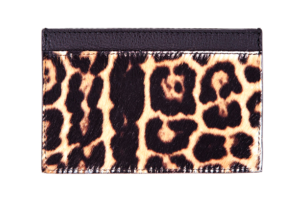 yves saint laurent leopard print calf hair cardholder