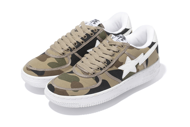a bathing ape 1st camo canvas bapesta