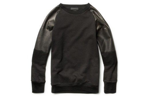 Alexander McQueen Degrade Leather Sleeved Cotton Sweatshirt