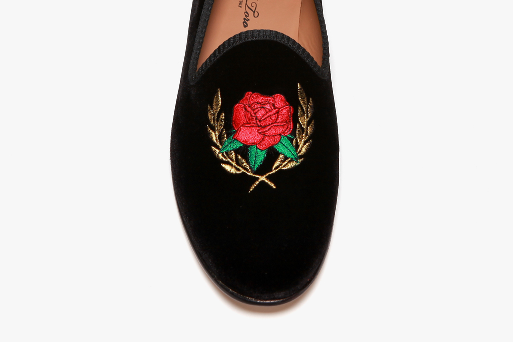 theophilus london x del toro rose crest black velvet slipper