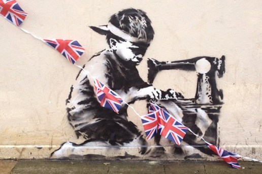 Banksy's Union Jack Child Labor Stencil in London
