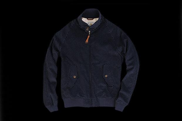 golden bear kentfield jacket in navy pin dot