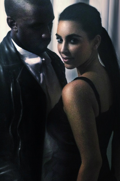 kanye west updates twitter with photos of him and kim kardashian