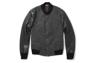Paul Smith for MR PORTER Cotton-Twill/Leather Varsity Jacket