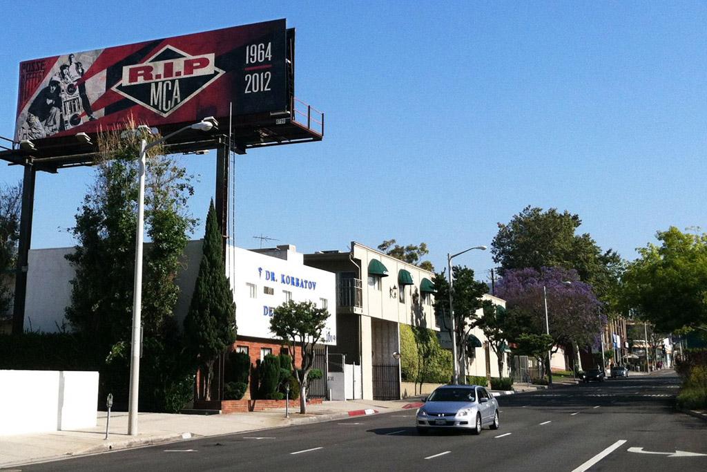 shepard fairey x glen e friedman mca tribute billboards