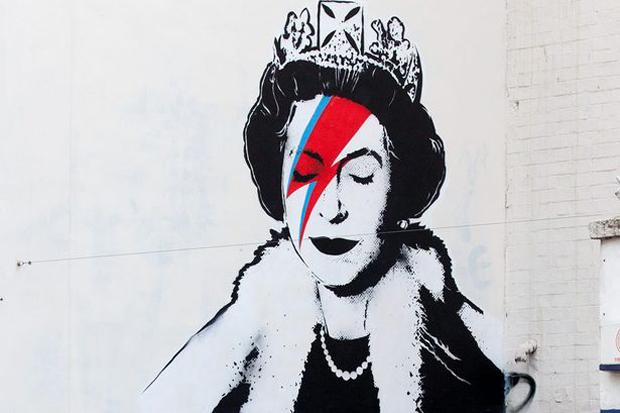 """Bansky Paints the Queen as David Bowie's """"Aladdin Sane"""""""