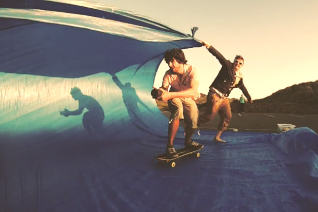 Blue Tarp Skateboard Surfing