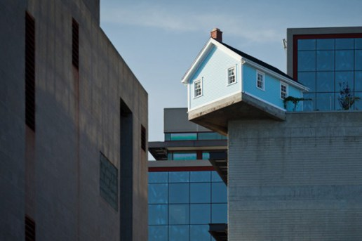The Do Ho Suh 'Fallen Star' Sculpture is a House On the Edge