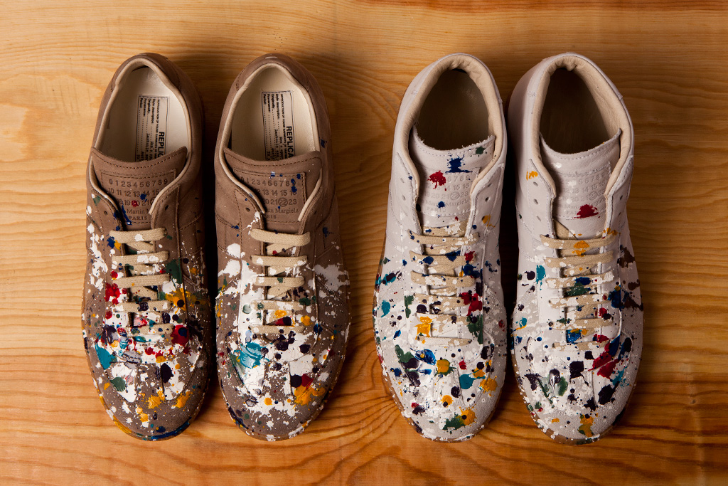 maison martin margiela 2012 pre fall paint splatter replica sneakers
