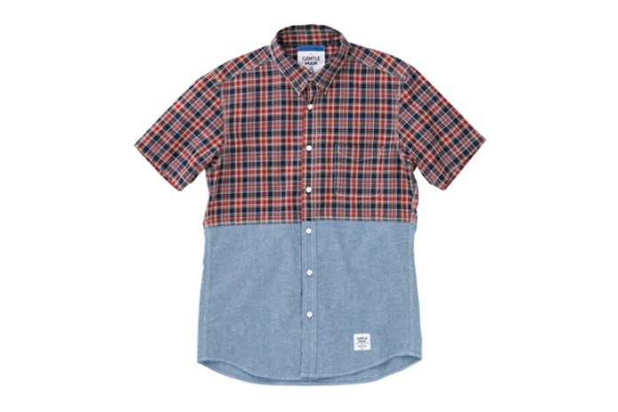 MR.GENTLEMAN 2012 Summer Short-Sleeved Chambray & Check Shirt