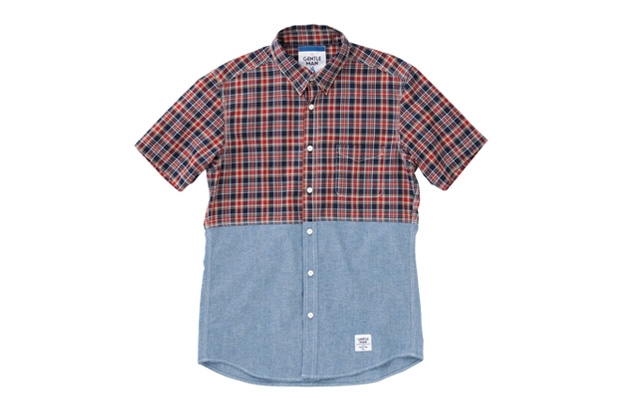 mr gentleman 2012 summer short sleeved chambray amp check shirt