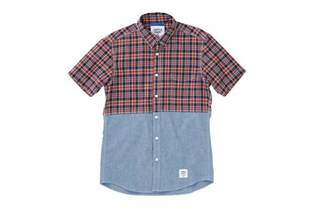 MR.GENTLEMAN 2012 Summer Short-Sleeved Chambray & Check Shirt