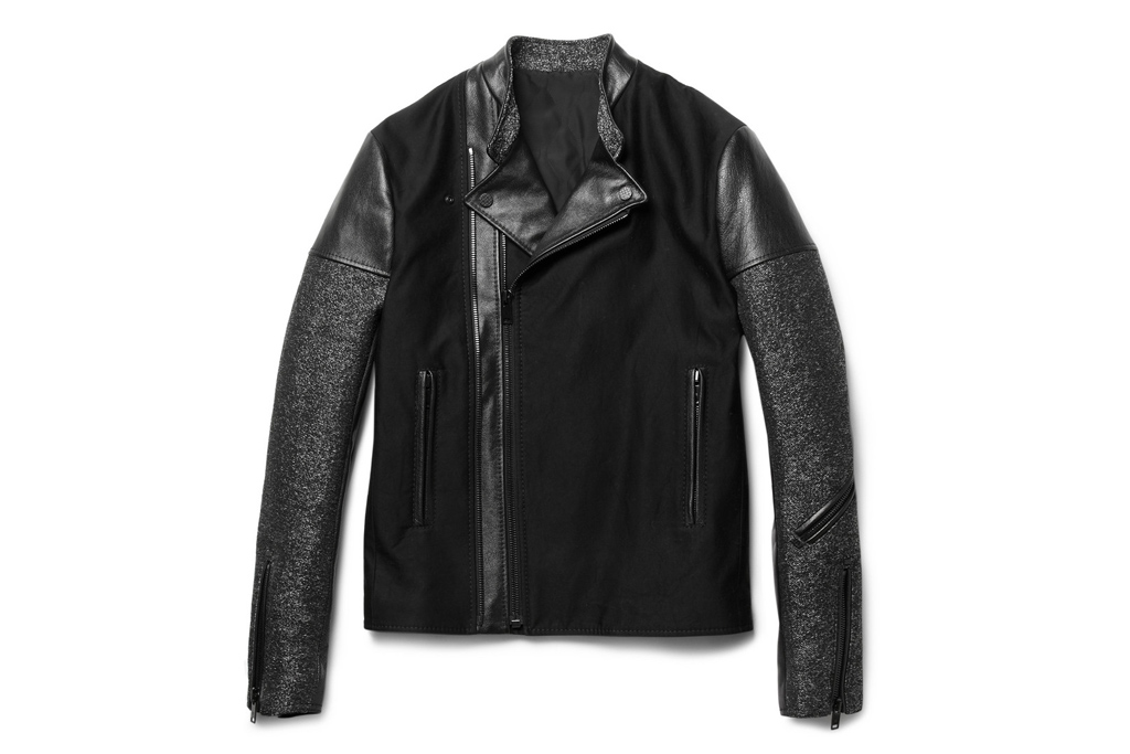 balenciaga panelled slim fit biker jacket
