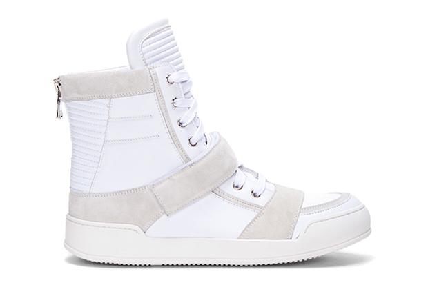 Balmain White Ribbed Tongue Sneakers