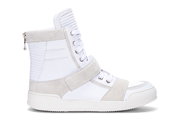 Balmain White Ribbed Tongue Sneakers
