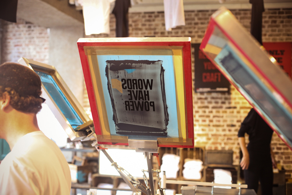 levis print workshop in london with anthony burrill