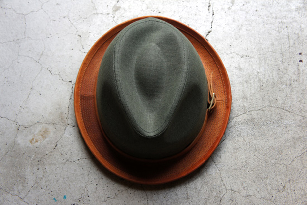 morno x roberu natural dyed canvas and leather hat