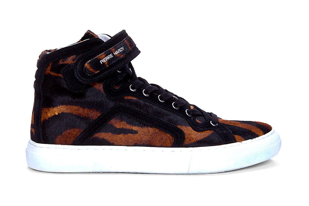 pierre hardy 2012 fall winter tiger print calf hair mid top sneaker