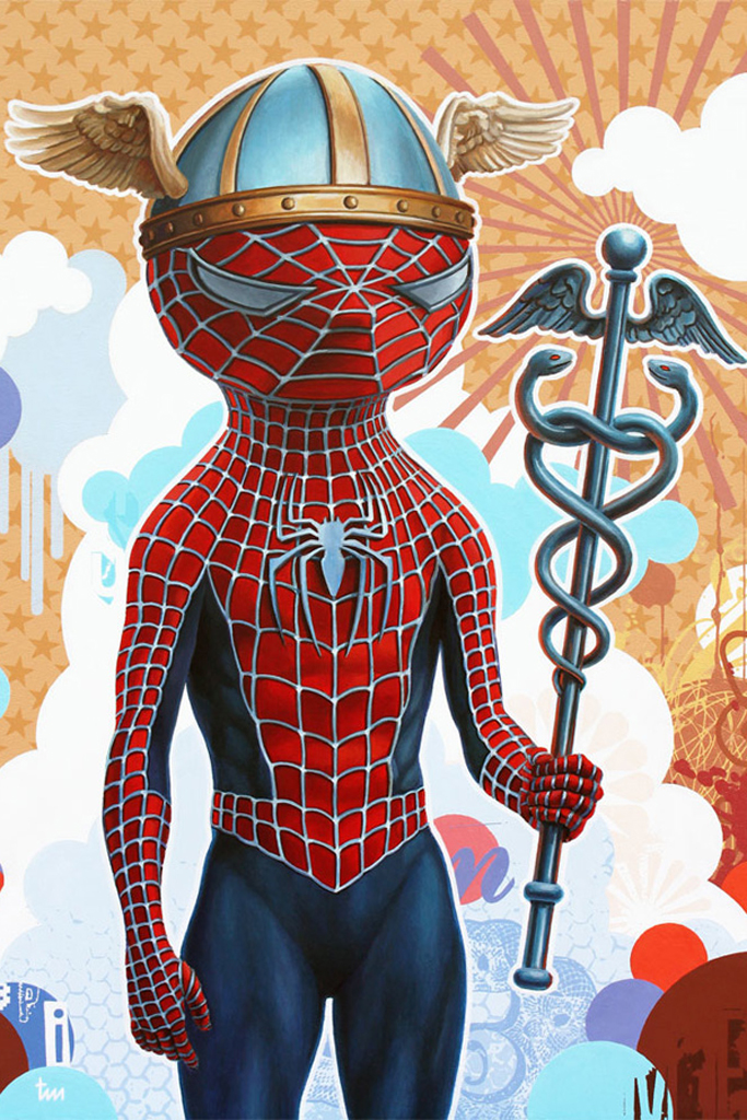 tim maclean mixes superheroes with mythological figures in fragments phantoms exhibition