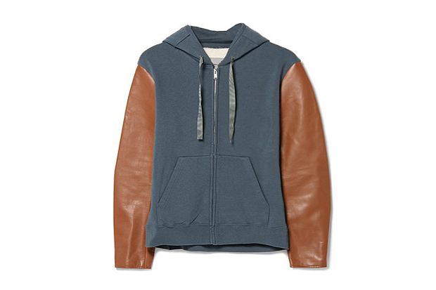 UNDERCOVER J4801 Leather-Sleeved Hoodie